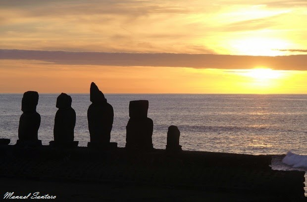 Isola di Pasqua, Ahu Tahai, tramonto
