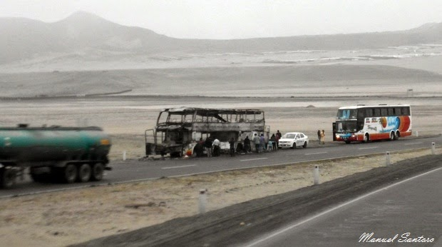 Panamericana, incendio all'autobus della compagnia Transporte El Sol
