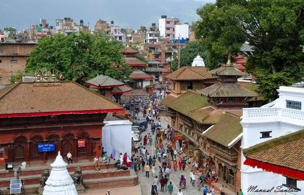 Kathmandu, Durbar Square. Vista dal Kasthamandar Restaurant