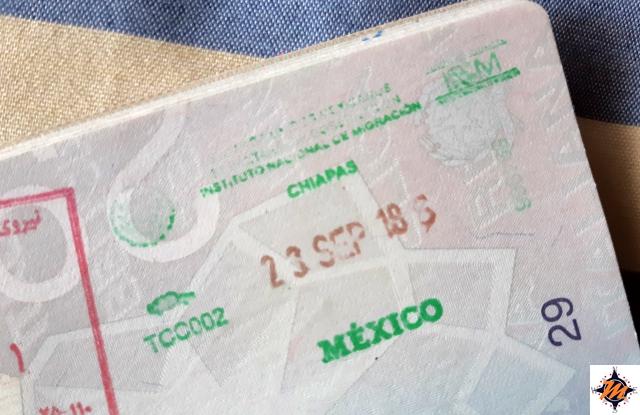 Timbro di uscita Messico, passaporto